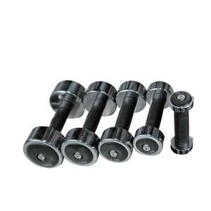 CHROME DUMBBELL WITH HARD RUBBER GRIP